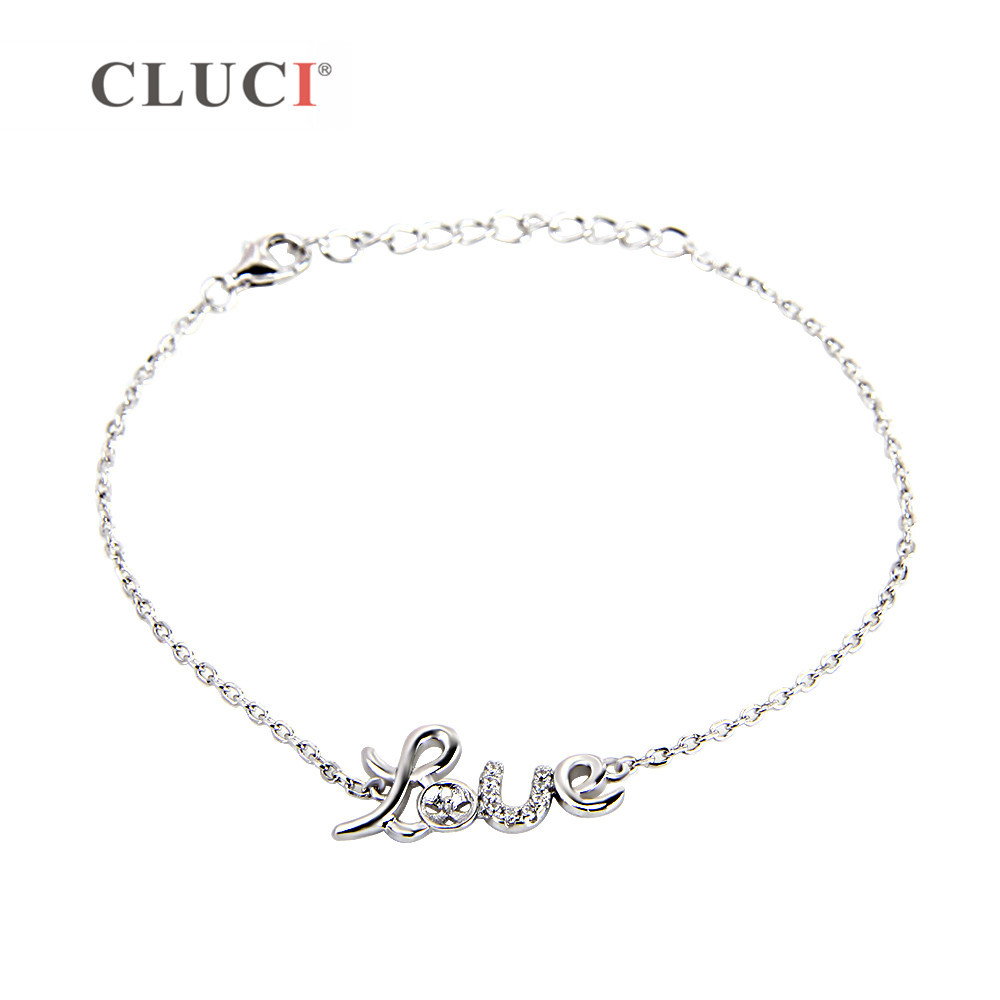 CLUCI Valentines Gift 925 sterling silver LOVE bracelet accessary charm for Women jewelry DIY, Wedding/Birthday/Anniversary Gift