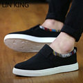 LIN KING New Men Casual Shoes Solid Round Toe Slip-on Height Increasing Ankle Single Shoes Massage Thick Sole Male Loafers