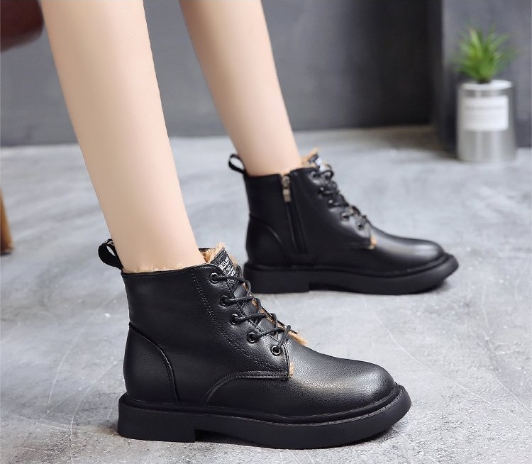 New Genuine Leather women boots winter whit fur Waterproof shock absorption warm breathable wear-resistant non-slip women shoes (17)