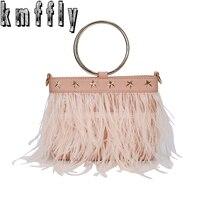 KMFFLY Winter Feather Tassels Luxury Handbags Women Famous Brand Women Bags Flowers Handbags Crossbody Messenger Bag
