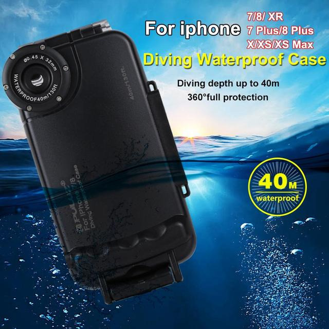 PULUZ 40M الغوص للماء حقيبة لهاتف أي فون 7 8 7P 8P XR XS ماكس الإسكان غطاء قذيفة صور فيديو أخذ تحت الماء الرياضات المائية