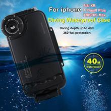 PULUZ funda impermeable de buceo para iPhone, carcasa resistente al agua de 40M para tomar fotos y vídeos, para iPhone 7, 8, 7P, 8P, XR, XS max