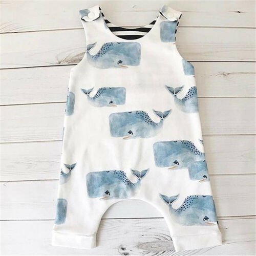 Newborn Kid Baby Boys Girls Whale Floral Romper Jumpsuit Clothes Outfit Support Wholesale