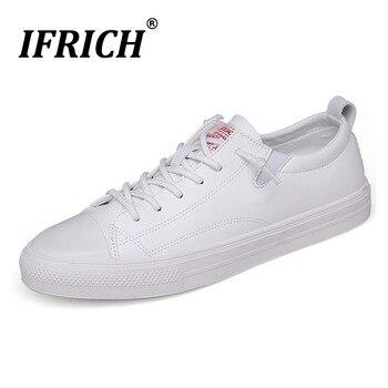 хорошие прогулочные кроссовки | Ifrich Trend 2019 детская повседневная обувь белые черные мужские кожаные туфли хорошее качество прогулочная обувь для мужчин со шнуровкой резино...