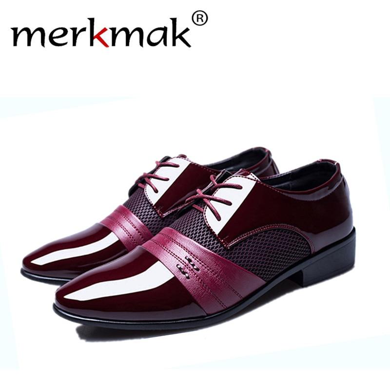 Merkmak 2018 Classical Men Dress Flat Shoes Luxury Men's Business Oxfords Casual Shoe Black / Brown/ Red Leather Derby Shoes