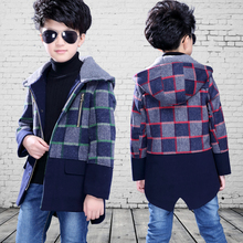 Wool blends boy hooded jacket Bristish style plaid outerwear long sleeve warm woolen trench coat for