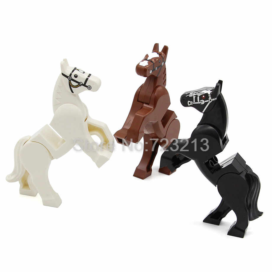 1Pc Legoing Cavalo Blocos de Construção Figura Animal Selvagem Conjunto Militar SWAT MOC Acessórios Grandes Tijolos Blocos de Construção Define Kits brinquedos