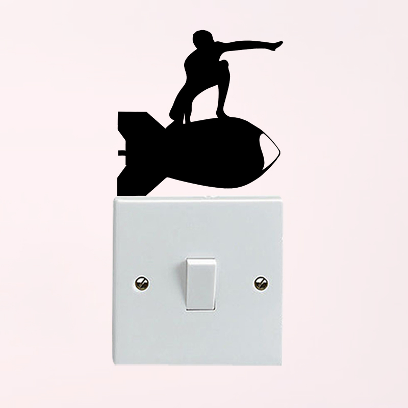 WANGZHIMING Bomb Surfer Bedroom Vinyl Light Switch Decal Home Decor Wall Sticker 6SS0461