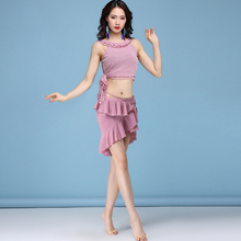 5 Colors New style Women Dance wear Sexy Mesh Clothes 2 pieces Top and Ruffled irregular skirt Belly practice Costume Set