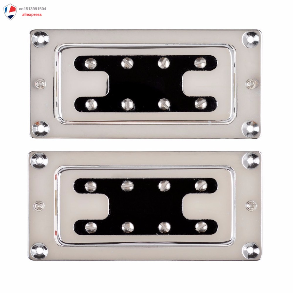 Chrome Humbucker Bridge Neck Set Pickups for Rickenbacker Bass Guitar Parts humbucker pickup for electric guitar double coil bridge and neck pickups set replacement chrome