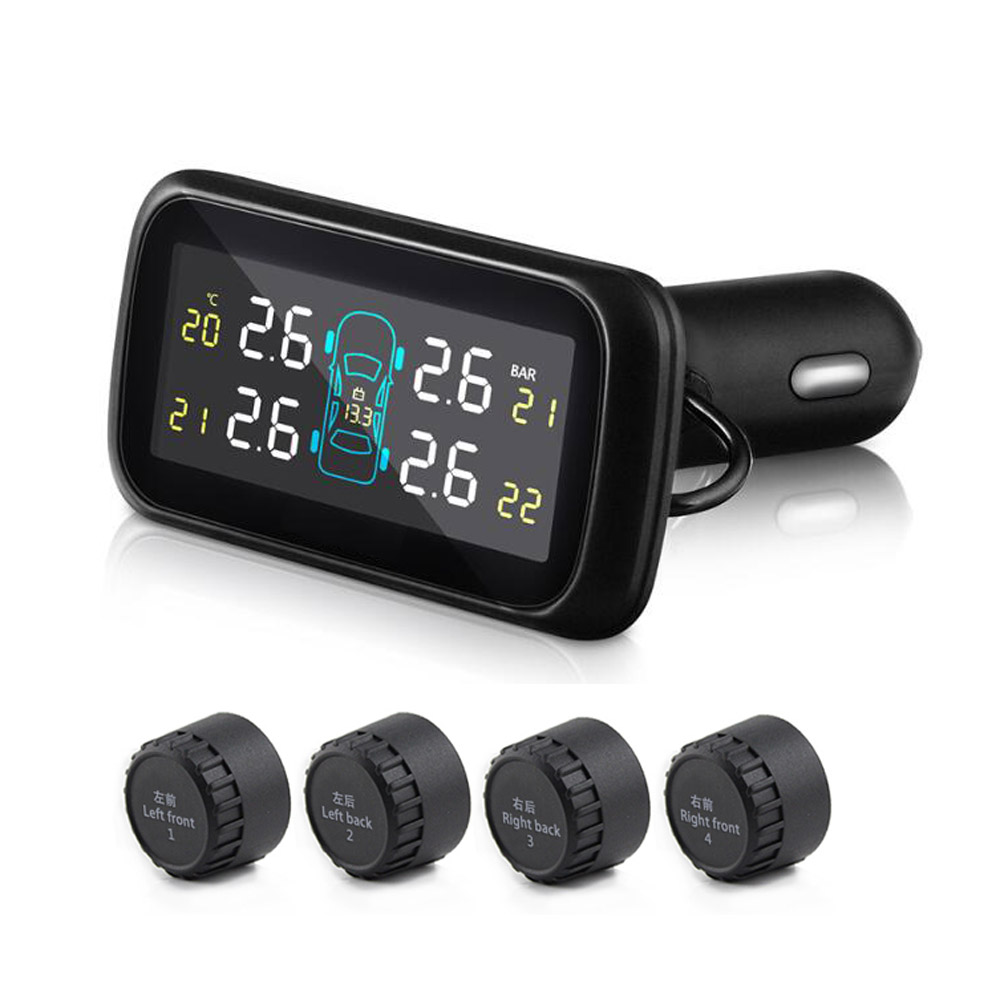 <font><b>U903</b></font> Car <font><b>TPMS</b></font> Tire Pressure Monitoring System Four External Wireless <font><b>TPMS</b></font> Sensor Tool Monitor Diagnostic Tool cigarette lighter image