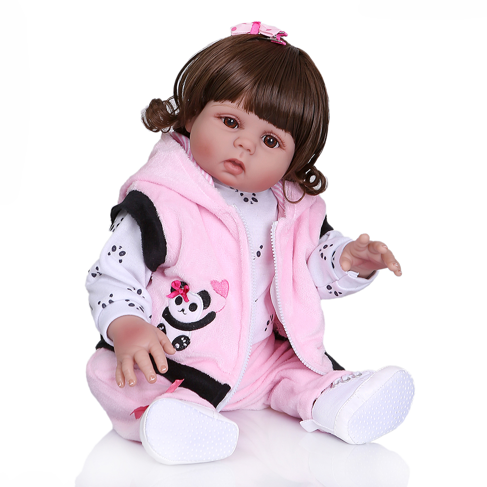 NPK 48 センチメートル新生児ベベ人形リボーン幼児人形女の赤ちゃんパンダドレス全身ソフトシリコーンバス解剖学的に正確  グループ上の おもちゃ & ホビー からの 人形 の中 3