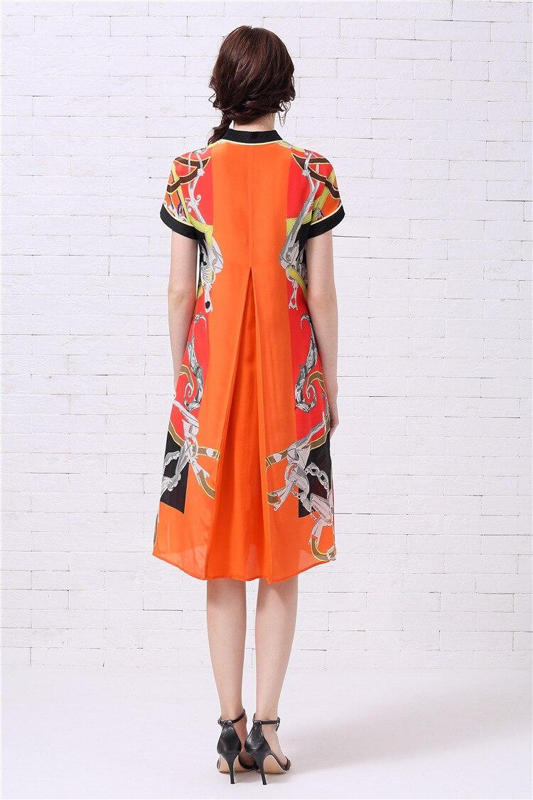 Женское платье с коротким рукавом Mifairy, оранжевое ТРАПЕЦИЕВИДНОЕ ПЛАТЬЕ с принтом, модель 110802 - 2