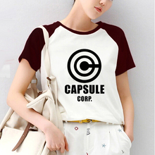 Anime Dragon Ball Capsule Corp Print Raglan Short Sleeve Tshirt Raglaned T shirt Women ulzzang Panda Kawaii T-shirt Tee Shirts
