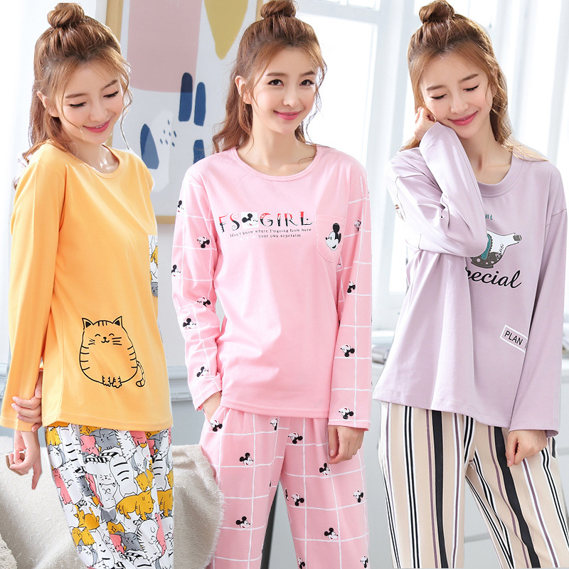 100% Cotton Womens   Pajamas     Sets   Long Sleeve Suit Pyjamas Women Lounge Lovely Cartoon Pijama Spring And Autumn Cartoon Nightwear