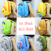 1pcs Plush cartoon backpack for 18 inch 16inch doll bag for 1 3 American girl dolls