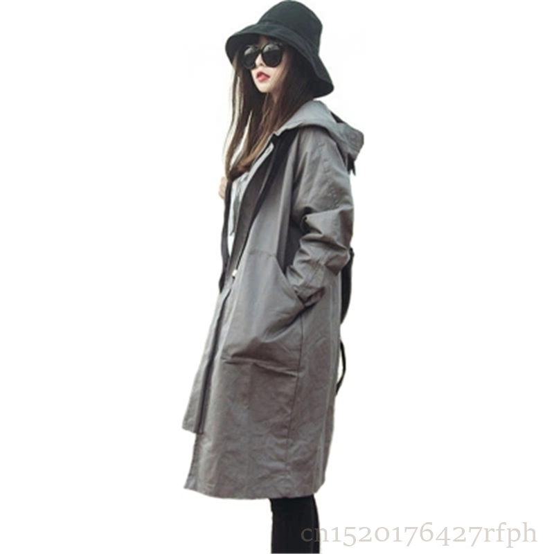 2018 New Spring Autumn Women's Hooded   Trench   Coat Casual Plus Size Loose Winter BF Harajuku Coat Girls Black Gray Overcoat Z201