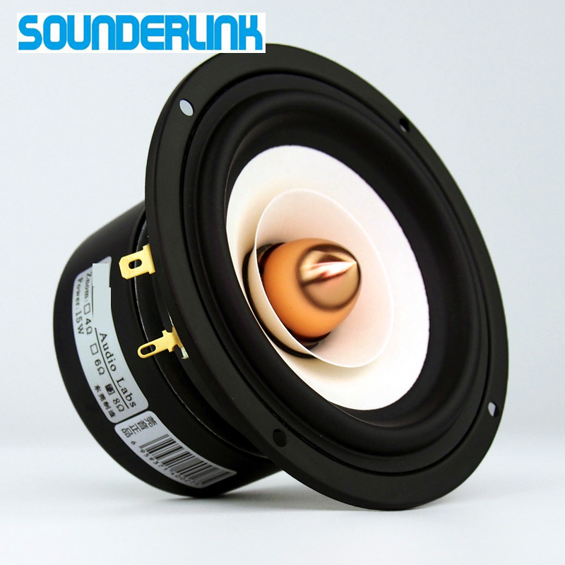 2pcs/lot Sounderlink Audio Labs Top end 4 inch Full Range Speaker tweeter unit sets with Aluminum Bullet 2 Layer kapton Cone iwistao hifi speaker empty cabinet kits labyrinth structure with high density fibreboard for 2 54 inches full range spk unit diy