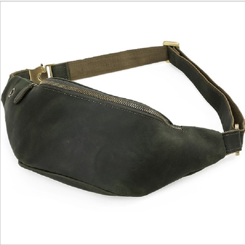 Mens Waist Travel Bag Crazy Horse Genuine Leather Fanny Pack Belt bag mens multifunction travel bags funny chest pack men Bags