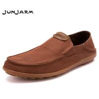 JUNJARM Men Casual Shoes 2018 Fashion Men Loafers Moccasins Slip On Men's Flats Loafers Male Footwear Big Size 38 47
