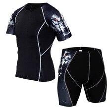 Mens Fitness Спортивный костюм Лето с набивным рисунком Спортивные мужские быстросохнущие топы с кор