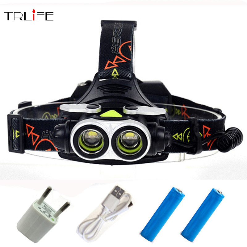 2* T6 LED Headlight 25000 Lumnes zoom LED Headlamp USB Rechargeable Lantern Head Lamp Light Flashlight Torch For 18650 maimu 8000lm usb power led headlamp cree xml t6 3 modes rechargeable headlight head lamp torch for hunting 18650 head light d14