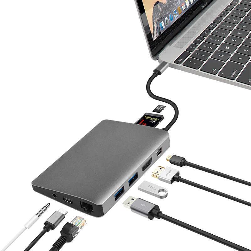 Amkle 9 trong 1 USB Hub Đa Năng USB-C HUB Type-C 4K Video HDMI Gigabit ethernet Adapter USB 3.1 USB Loại C C3.1 HUB