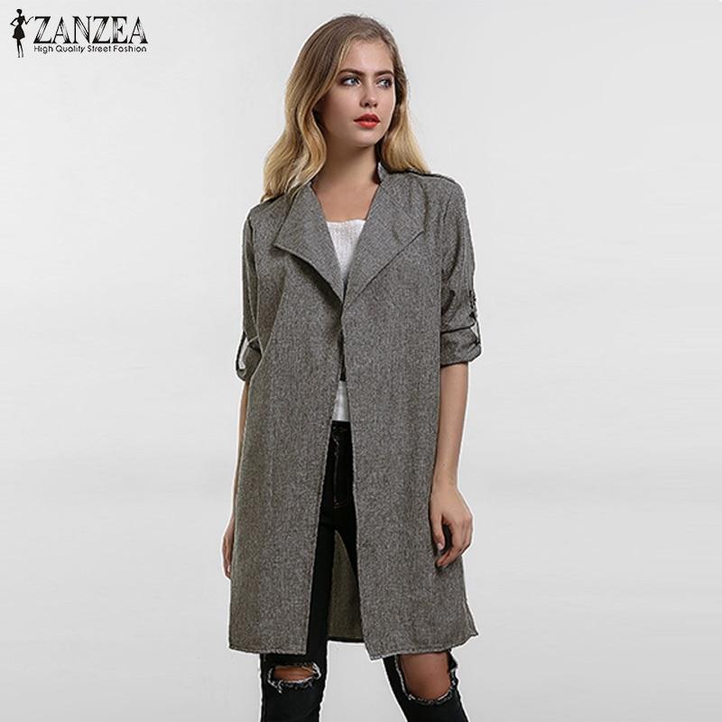 2019 Pavasara sievietes Slim Thin Virsdrēbes Casual Lapel Vējjaka Cape Coat Eiropas stila veļa Cardigan jaka ASV Plus izmērs S-7XL
