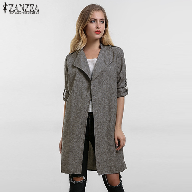 2019 Musim Semi Wanita Slim Tipis Pakaian Luar Kasual Kerah Jaket Cape Mantel Gaya Eropa Linen Kardigan Jaket AS Plus Ukuran S-7XL