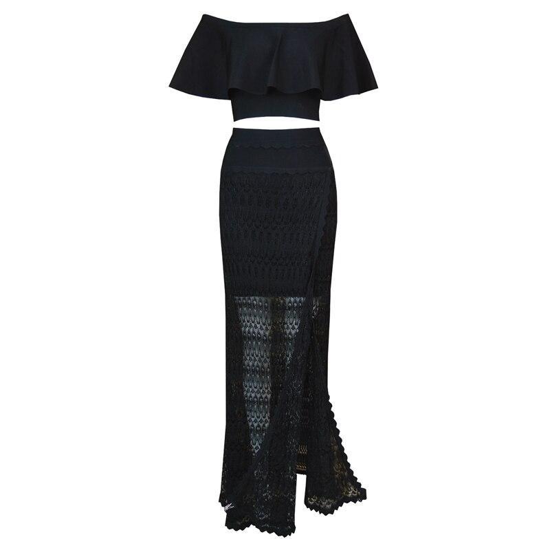 Mode Nova Lady Party porter blanc noir hors de l'épaule à volants court recadrée Top Maxi Bandage deux pièces longue robe ensembles femmes - 2