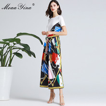 MoaaYina Fashion Designer Set Spring Summer Women Short sleeve Ribbon T shirt+Stripe Print Wide leg bell bottoms Two piece suit
