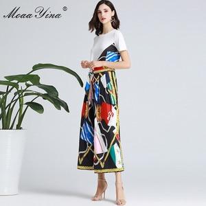 Image 1 - MoaaYina Fashion Designer Set Spring Summer Women Short sleeve Ribbon T shirt+Stripe Print Wide leg bell bottoms Two piece suit