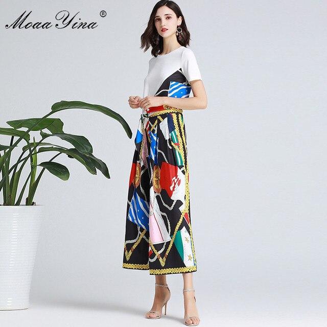 MoaaYina Fashion Designer Set Spring Summer Women Short sleeve Ribbon T shirt+Stripe Print Wide leg bell bottoms Two piece suit