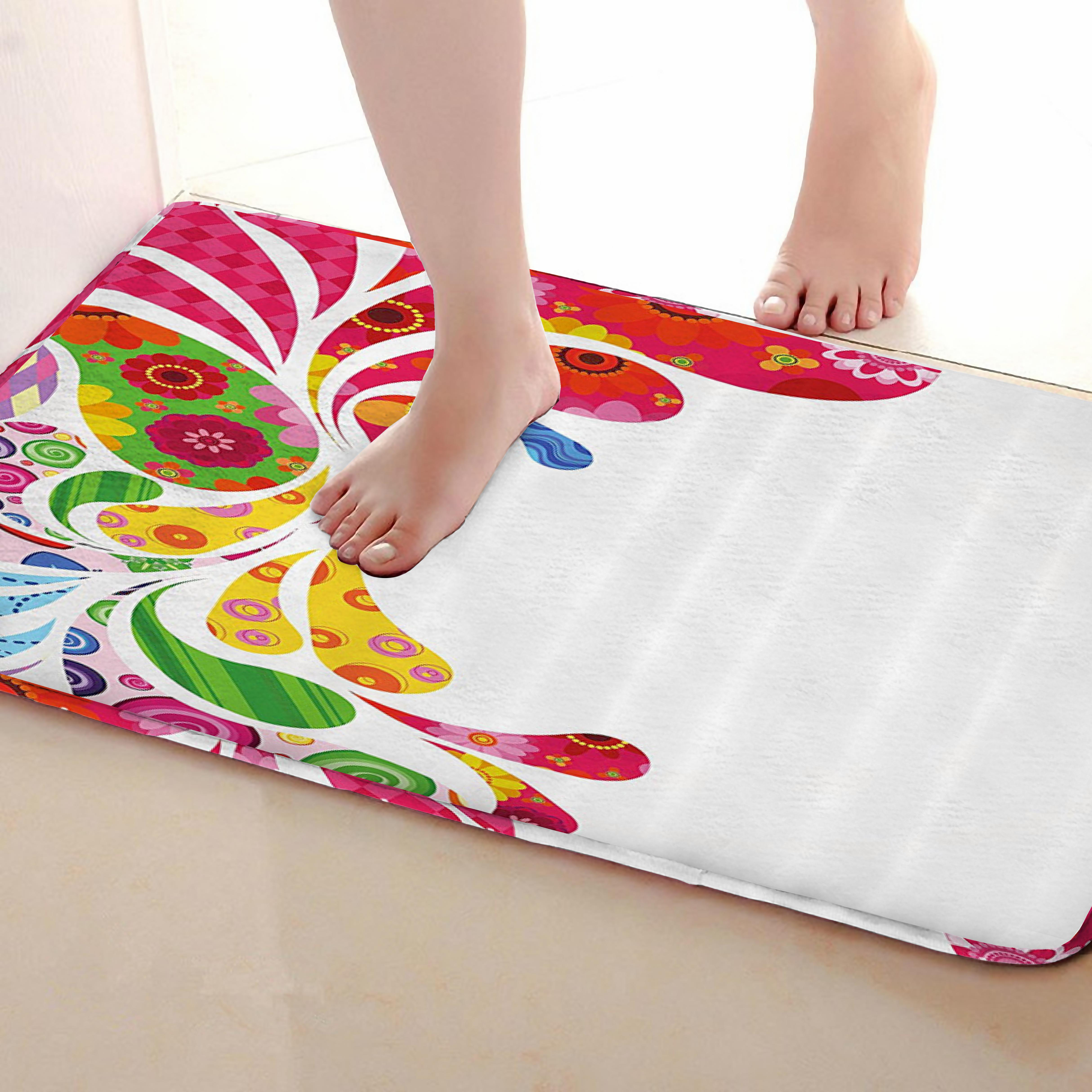 Colorful Style Bathroom Mat,Funny Anti Skid Bath Mat,Shower Curtains Accessories,Matching Your Shower Curtain