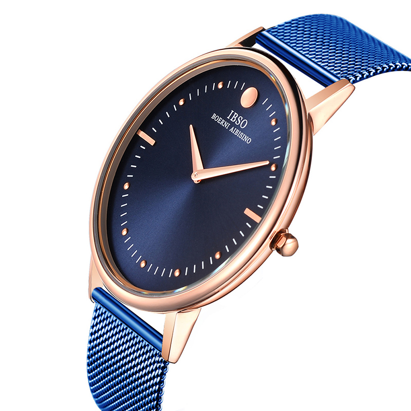 IBSO 7.5MM Ultra-thin Mens Watches Luxury Blue Steel Mesh Strap Quartz Watch Men Casual fashion Male Clock Relogio Masculino watches men luxury brand men quartz ultra thin date clock male waterproof steel strap gold casual wrist watch relogio masculino