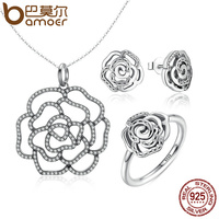 BAMOER 100 925 Sterling Silver Shimmering Rose Pendant Necklace Jewelry Sets Sterling Silver Jewelry ZHS027