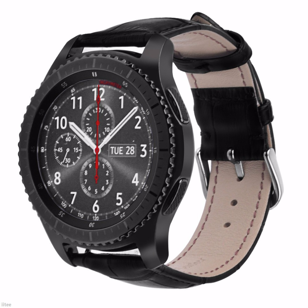 Genuine Leather Crocodile Pattern Replacement Strap Band for Samsung Gear S3 Classic/Frontier Smart Watch Black