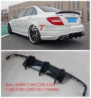 Carbon Fiber Car Rear Bumper Diffuser Spoiler Lip carbon Fit For Benz W204 C180 C200 C230 C260 C280 C300 C63 C74AMG BY EMS