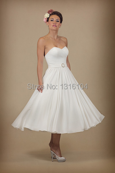 2016 New Informal Ivory Simple Tea Length Sweetheart Ruched Chiffon Beach Women Wedding Dress Second In Dresses From Weddings Events On