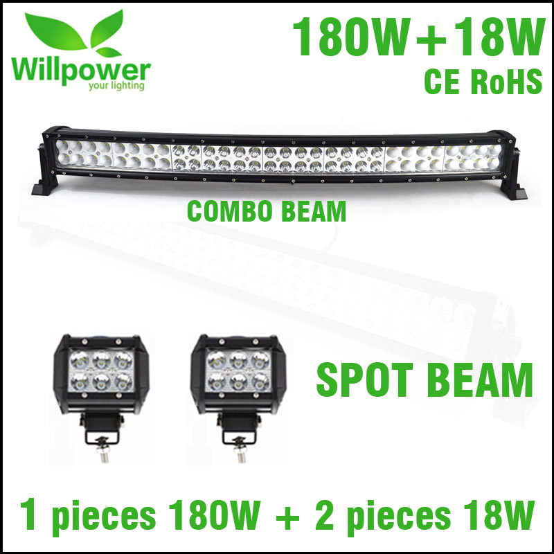 4inch 18w led work light Spot Beam With Curved 32 inch 180W Combo Beam Offroad LED Light Bar For Truck For JEEP
