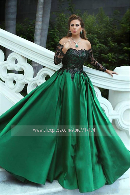 Black-Appliques Sleeves Off-the-Shoulder Long Elegant Prom Dress Black and Green Long Sleeves Evening Gowns 2