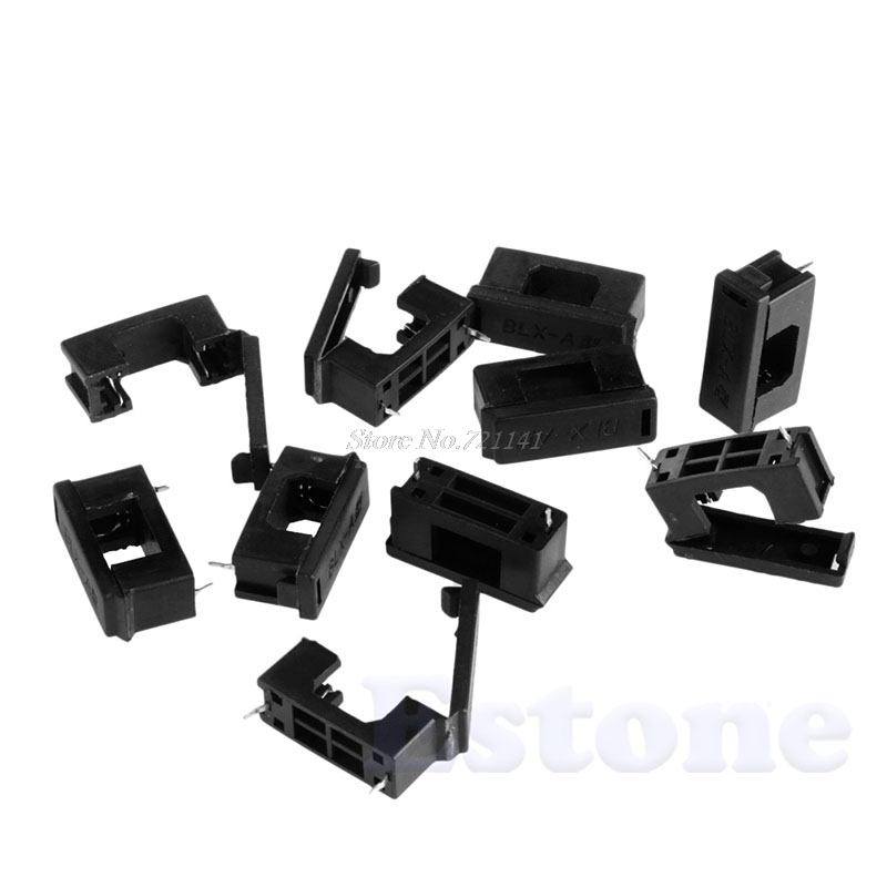 10Pcs AGC Fuse Holder Container With Cover BLX-A Type Black For Fuse 5mm X 20mm