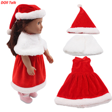 Christmas Baby New Born Girl Doll Dress Set With Shawl Red Cute Doll Clothes For 18