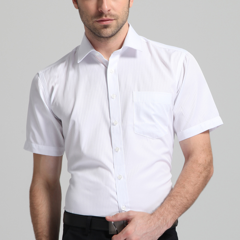 Men's Regular-fit Summer Short Sleeve Solid Classic Shirt Single Patch Pocket Formal Business Work Office Basic Dress Shirts 2