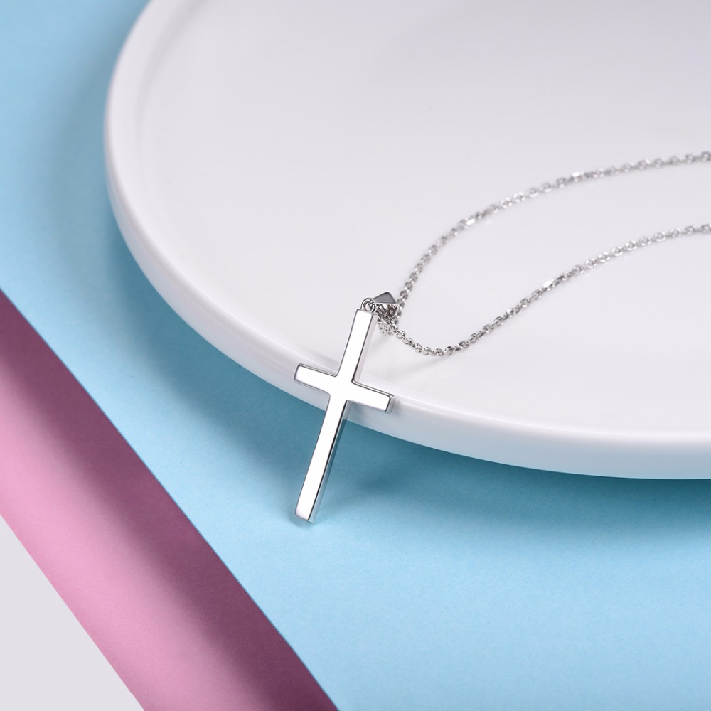 Image 5 - U7 100% 925 Sterling Silver Cross Pendant & Chain Minimalist Necklace Christmas Gift for Women Men Silver Christian Jewelry SC13cross pendantsilver cross pendantchristmas gifts for women -
