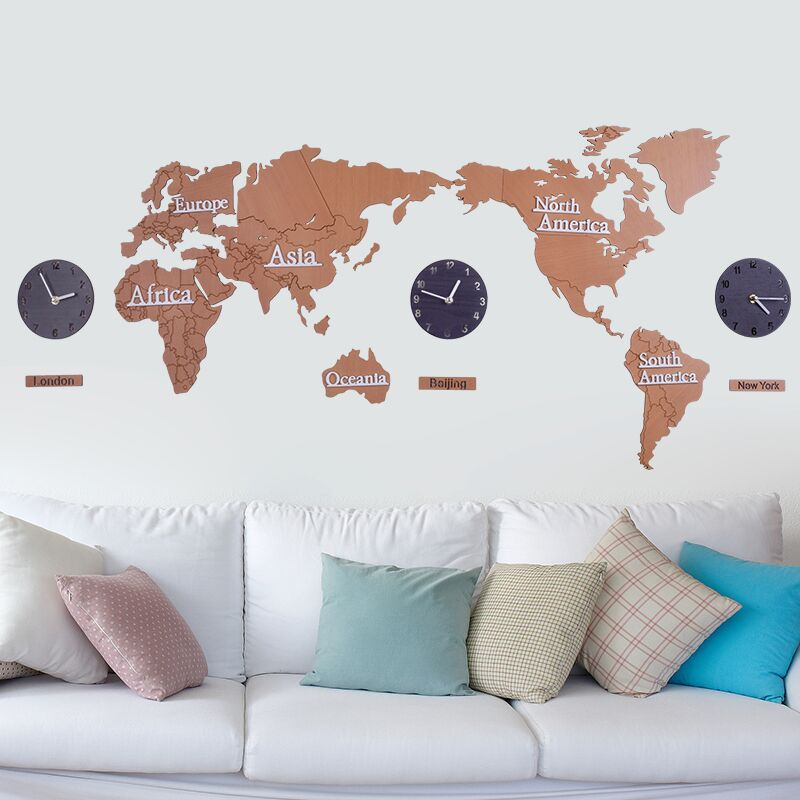 137cmx63cm creative 3d wood wall clock world map large size wall 137cmx63cm creative 3d wood wall clock world map large size wall sticker clock modern european round mute clock in wall clocks from home garden on gumiabroncs Image collections