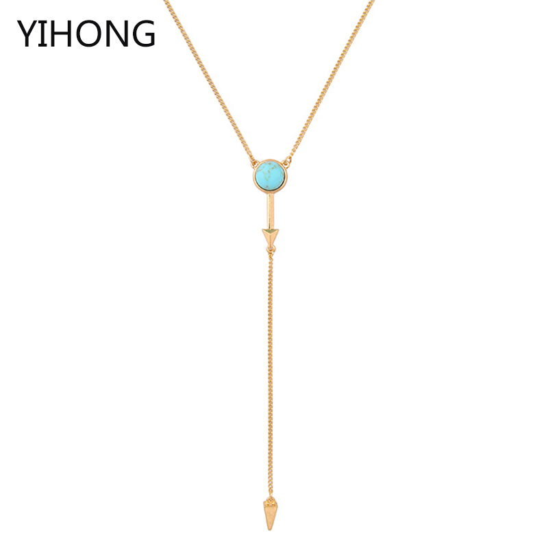 Arrow Pendant Necklace Bohemian Style Simple Long Chain Choker for Fashion Women Cloth Aceesorries