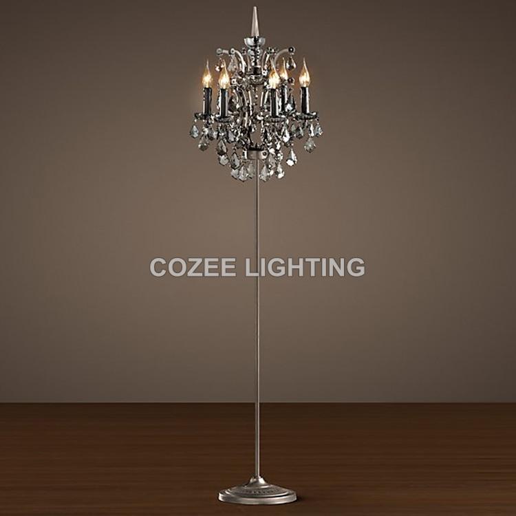 Vintage Crystal Floor Lamp Standing Lighting Candle