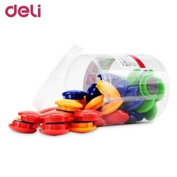 Deli 8725 1 barrel 48 pcs magnetic pins well performance for whiteboard 4 colors diameter 30mm.jpg 350x350