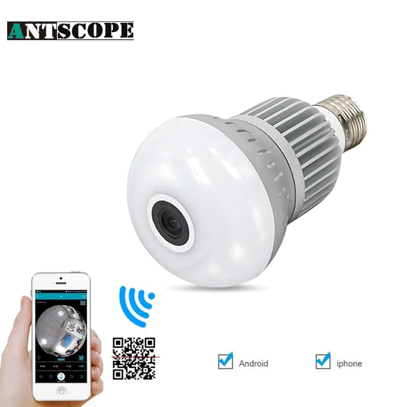 1080P 360 Degree Wireless Bulb Light IP Camera Wifi FishEye VR Mini CCTV Cam 1.3MP Home Security Surveillance Cameras Panoramic